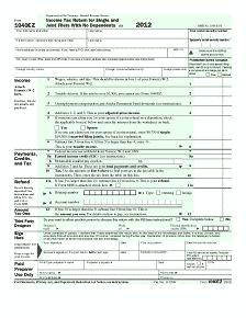 1040EZ Form Back Tax Return