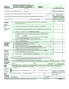 1040EZ Form Back Tax Return